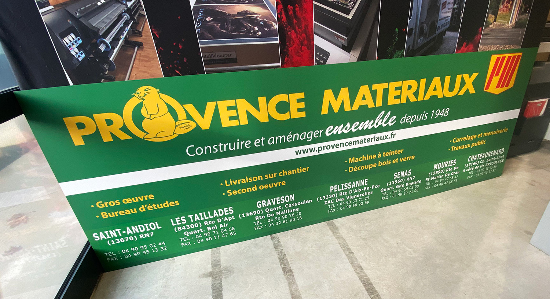 Réalisation d'un panneau publicitaire pour Provence Matériaux