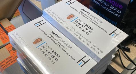 Réalisation de cartes commerciales pour Happy Immobilier
