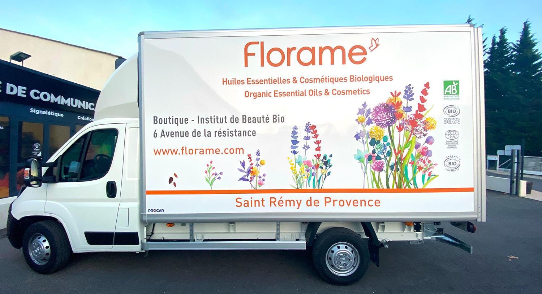 Habillage de camion pour Florame à Saint-Rémy de Provence