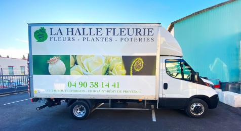 Habillage de camion pour La Halle Fleurie à Saint-Rémy de Provence