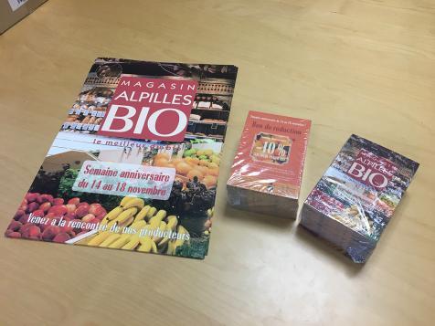 Affiches et flyers magasin Alpilles Bio à Saint-Rémy de Provence